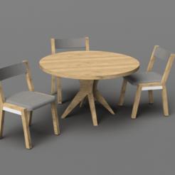 Untitled.png Télécharger fichier STL gratuit Table et chaises de salle à manger Dollhouse à l'échelle 1/24e • Modèle pour imprimante 3D, ericcherry