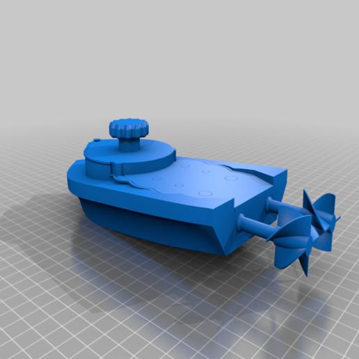 Download free STL file mini Wind-Up Boat Dual Drive - screwless - full 3d printed • 3D print model, GreenDot