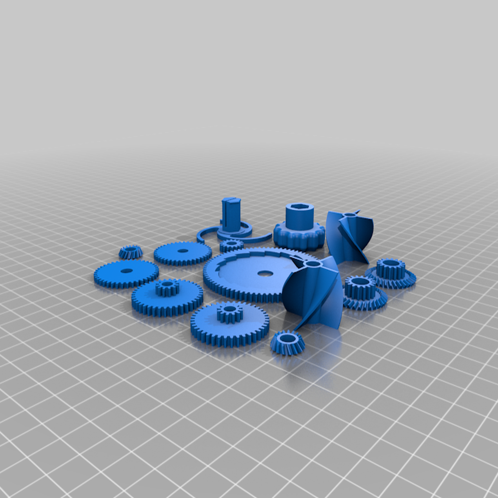 1_gears_and_small_parts.png Télécharger fichier STL gratuit mini Wind-Up Boat Dual Drive - sans vis - impression complète en 3d • Plan imprimable en 3D, GreenDot