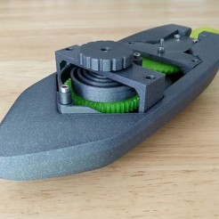 Download free 3D printing models wind-up Bathtub Boat V4 - Badewannen Boot zum Aufziehen - Funktionsfähig, GreenDot