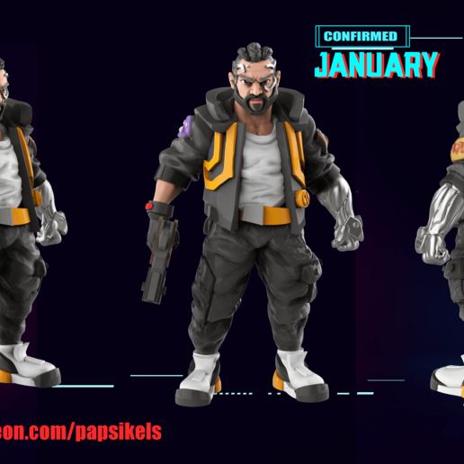 Download free 3D printer templates Cyberpunk Male Character , Papsikels