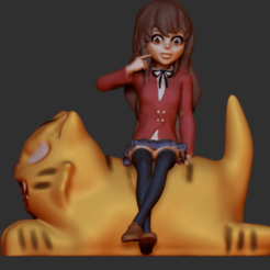 7 taiga.png Download STL file Toradora Anime:Taiga sitting on a tiger • Design to 3D print, josucortez