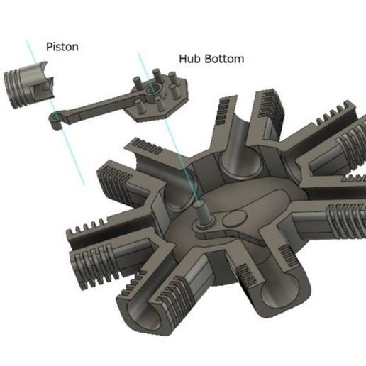 4.JPG Télécharger fichier STL gratuit Modèle de moteur radial à 7 cylindres • Design pour imprimante 3D, MinMunchKin
