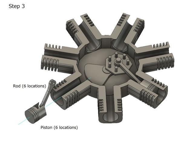 5.JPG Télécharger fichier STL gratuit Modèle de moteur radial à 7 cylindres • Design pour imprimante 3D, MinMunchKin