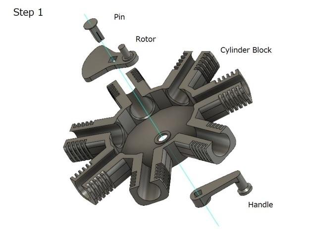 3.JPG Télécharger fichier STL gratuit Modèle de moteur radial à 7 cylindres • Design pour imprimante 3D, MinMunchKin