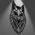 Download 3D printer designs Wall Picture - Low Poly Wolf, Saturno3d