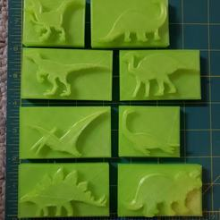 120949464_3420645041494030_6009717906702845574_o.jpg Download STL file 8 Dinosaur Stamps for Clay etc.. • 3D printable template, HostagePotatoChips