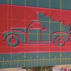 118980307_3382747678617100_1606294910966976129_o.jpg Télécharger fichier STL Camion de ferme de Noël (de côté) Pochoir de 6 pouces de large, 0,6 mm d'épaisseur • Design pour impression 3D, HostagePotatoChips