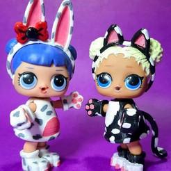 Descargar modelos 3D para imprimir Trajes de muñeca LOL impresos en 3D personalizados Gato y Conejo, RDFTW