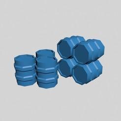 40kBarrels1.jpg Descargar archivo STL gratis Barriles de 40k, contenedores de almacenamiento Scifi Octagon • Modelo para la impresora 3D, RedPhoenix