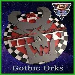 ORKGoff.jpg Download STL file BATTLE ROUND TRACKER, NEW! 40K, 9TH EDITION, WARHAMMER 40000 Goff STYLE • 3D printable object, BattleRound