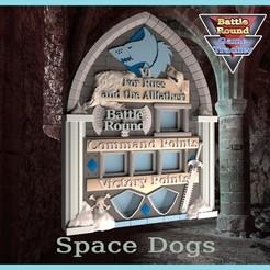 SW1.jpg Download STL file BATTLE ROUND TRACKER, NEW! 40K, 9TH EDITION, WARHAMMER 40000 Space wolves style • 3D printable design, BattleRound