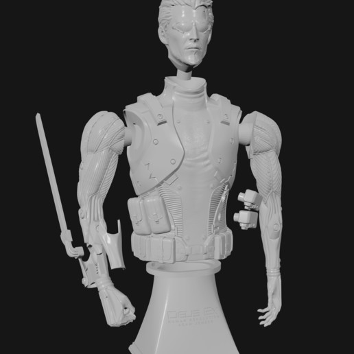 exploded finished.jpg Download STL file Deus Ex Human Revolution Adam Jensen Bust • 3D printing model, CyrylXI