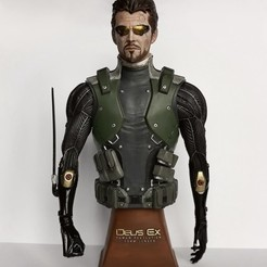 adam front.jpg Download STL file Deus Ex Human Revolution Adam Jensen Bust • 3D printing model, CyrylXI