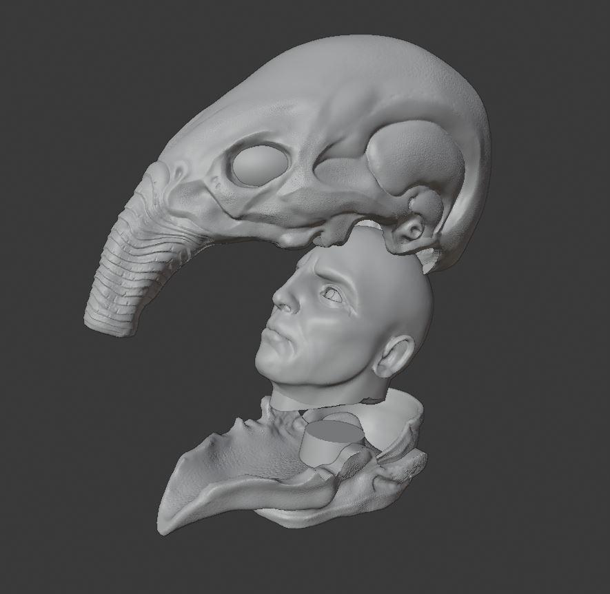 model photo.JPG Download STL file Prometheus Engineer head with Space Jockey Helmet • 3D printer template, CyrylXI