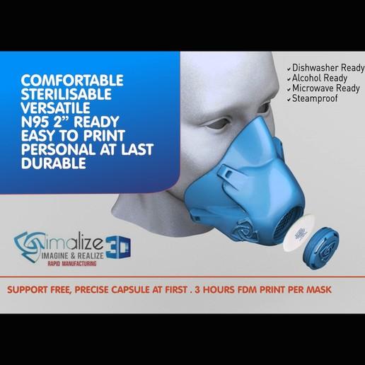 Mask Imalize 1x1.jpg Télécharger fichier STL gratuit Masque FMP Imalize securité COVID-19 (Facile à imprimer, aucun support, filtre requis) • Objet imprimable en 3D, Imalize