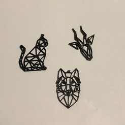 Download free 3D printing files geometric animal necklace geometric wolf, cat, deer, ChrisKits