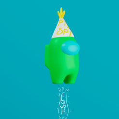 Fiesta.png Download STL file Among Us Party/ support free! • Design to 3D print, CesarSantana