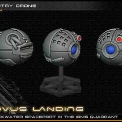 sentry_drone_lowres.jpg Download free STL file Sentry Ball Droid - 28-32mm gaming - Novus Landing • 3D print design, ec3d