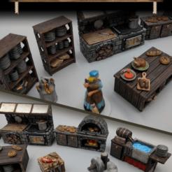 Impresiones 3D gratis Artículos de Posada y Taberna - Set 2 - Cocina y Comida - Juego de 28mm - Artículos de muestra, ec3d