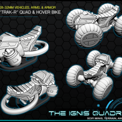 "PREVIEW.png Download free STL file ""TRACK-R"" quad & hoverbike - 28-32mm gaming - The ignis Quadrant • 3D printable object, ec3d"