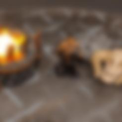 Download free 3D model Large Stone Brazier / Bonfire - Tea Light - 28mm gaming, ec3d