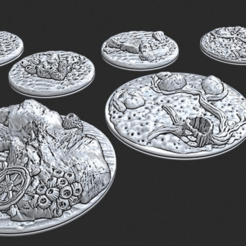 "Download free STL file 2"" & 3"" Bases - Depths of Savage Atoll • 3D printable object, ec3d"