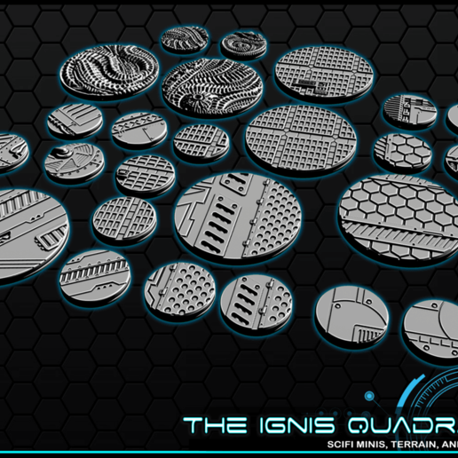 """b1.png Download free STL file 1"""" & 2' Round Bases - The Ignis Quadrant • 3D printing template, ec3d"""