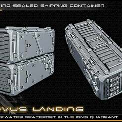 container_lowres.jpg Download free STL file Scifi Shipping Container - 28-32mm gaming - Novus Landing • 3D printing model, ec3d