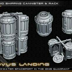cannisters_lowres.jpg Download free STL file Canisters and Frame - 28-32mm gaming - Novus Landing • 3D printer model, ec3d