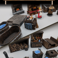 Download free 3D printer model Inn & Tavern Items - Set 1 - 28mm gaming - Sample Items, ec3d