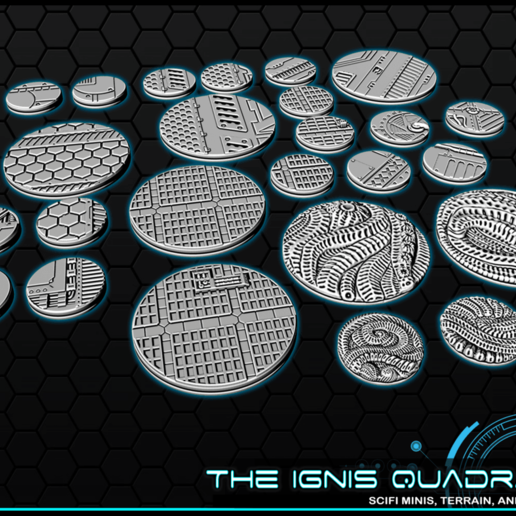 """b2.png Download free STL file 1"""" & 2' Round Bases - The Ignis Quadrant • 3D printing template, ec3d"""