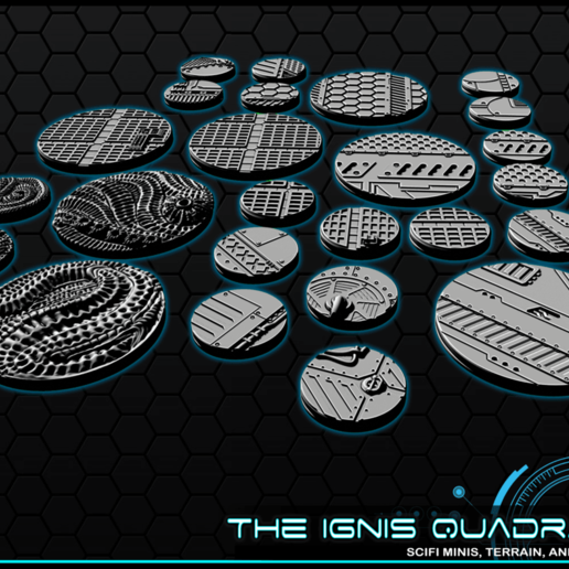 """3.png Download free STL file 1"""" & 2' Round Bases - The Ignis Quadrant • 3D printing template, ec3d"""