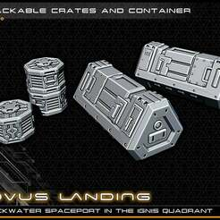 crate_lowres.jpg Download free STL file Scifi Crates - 28-32mm gaming - Novus Landing • 3D print object, ec3d
