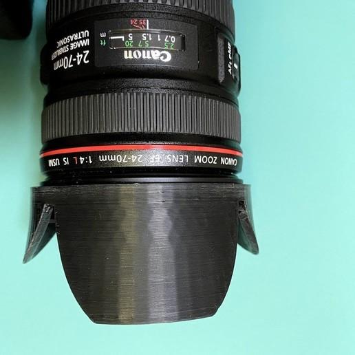 lens_hood_on_lens_1.jpg Download free STL file Canon lens hood • Object to 3D print, Usachu