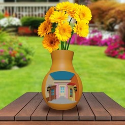 Download 3D printing designs Village Scene Vase, markdeyaboo
