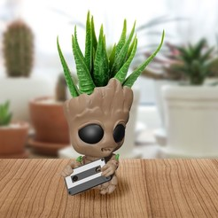Groot1 Pot  Cassette 01.jpg Download STL file BABY GROOT POT CASSETTE • Model to 3D print, Markdejavu