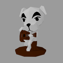 kk front.png Download free STL file Dog K.K. Slider Animal Crossing • 3D printing object, OffSetEyeBrow