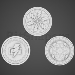 ws_shield_all.jpg Download OBJ file Space Mongols Shields • 3D printing design, BitShapers