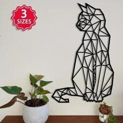 Gato geometrico_001.jpg Download STL file Geometric cat • 3D printer template, npepac