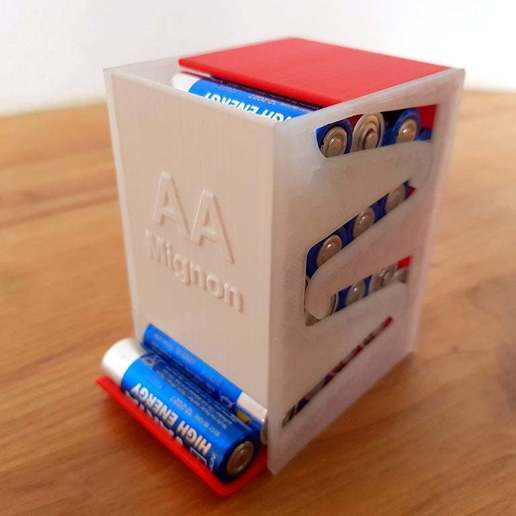 Download free 3D printer designs Battery dispenser for AA Mignon (Batteriespender), verdrus