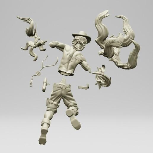 2.jpg Download STL file Portgas D. Ace - One Piece 3D printable • 3D print model, ronnie_yonk