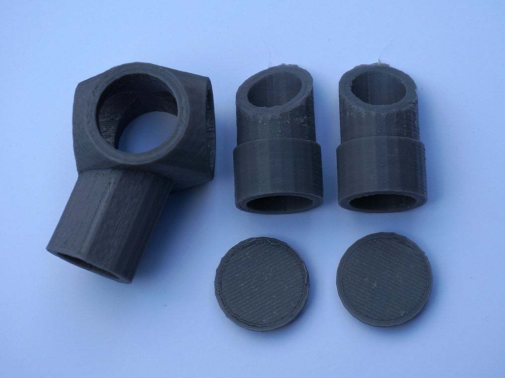 AngledElbows2.JPG Download free STL file Reconfigurable 22.5 & 45 Degree 3-Way Elbows, 1/2 Inch PVC Pipe Fitting Series #HalfInchPVCFittings UPDATE 2015-07-03 • 3D printer design, tonyyoungblood