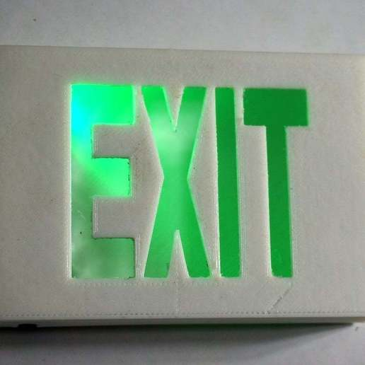 DSC02089.JPG Download free STL file Tiny Exit Sign with LED Light • 3D printing template, tonyyoungblood