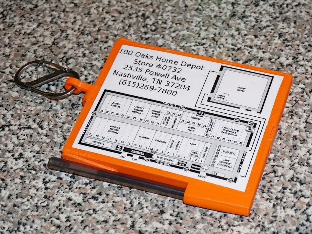 """DSC02678.JPG Download free STL file Home Depot """"Cut Ticket"""" Notebook Holder #RetailTools UPDATED 2015-05-11 • 3D printing object, tonyyoungblood"""