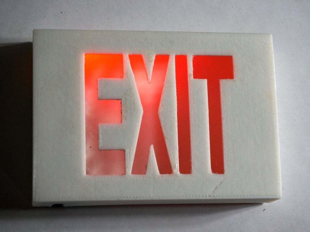 DSC02088.JPG Download free STL file Tiny Exit Sign with LED Light • 3D printing template, tonyyoungblood