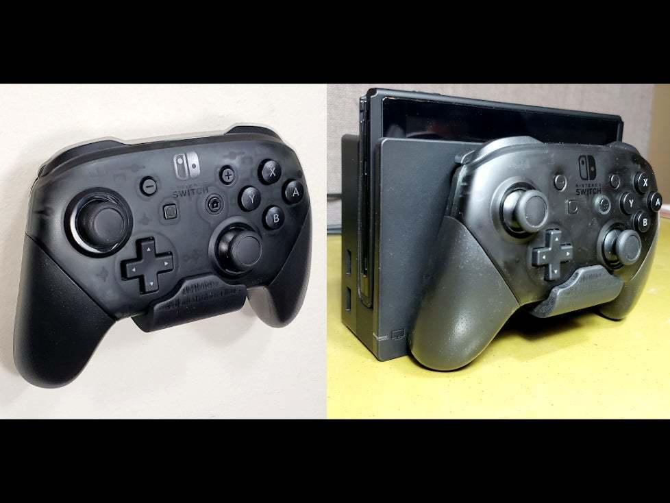 SwitchProMount_01.jpg Download free STL file Nintendo Switch Pro Controller Mount - Mounts on Wall or Switch! • Design to 3D print, tonyyoungblood