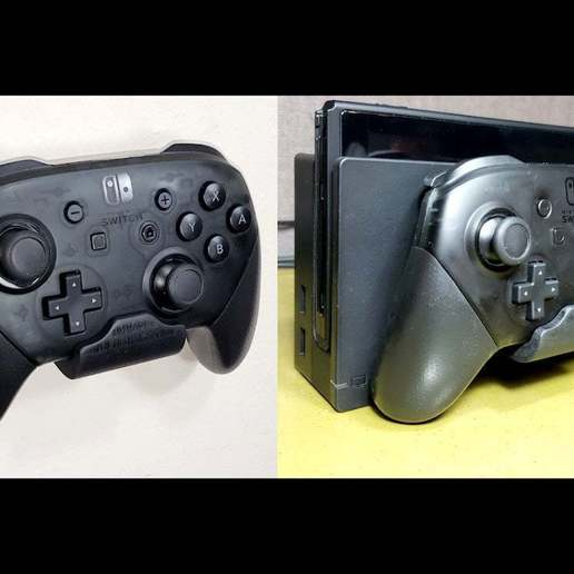 Download free STL files Nintendo Switch Pro Controller Mount - Mounts on Wall or Switch!, tonyyoungblood