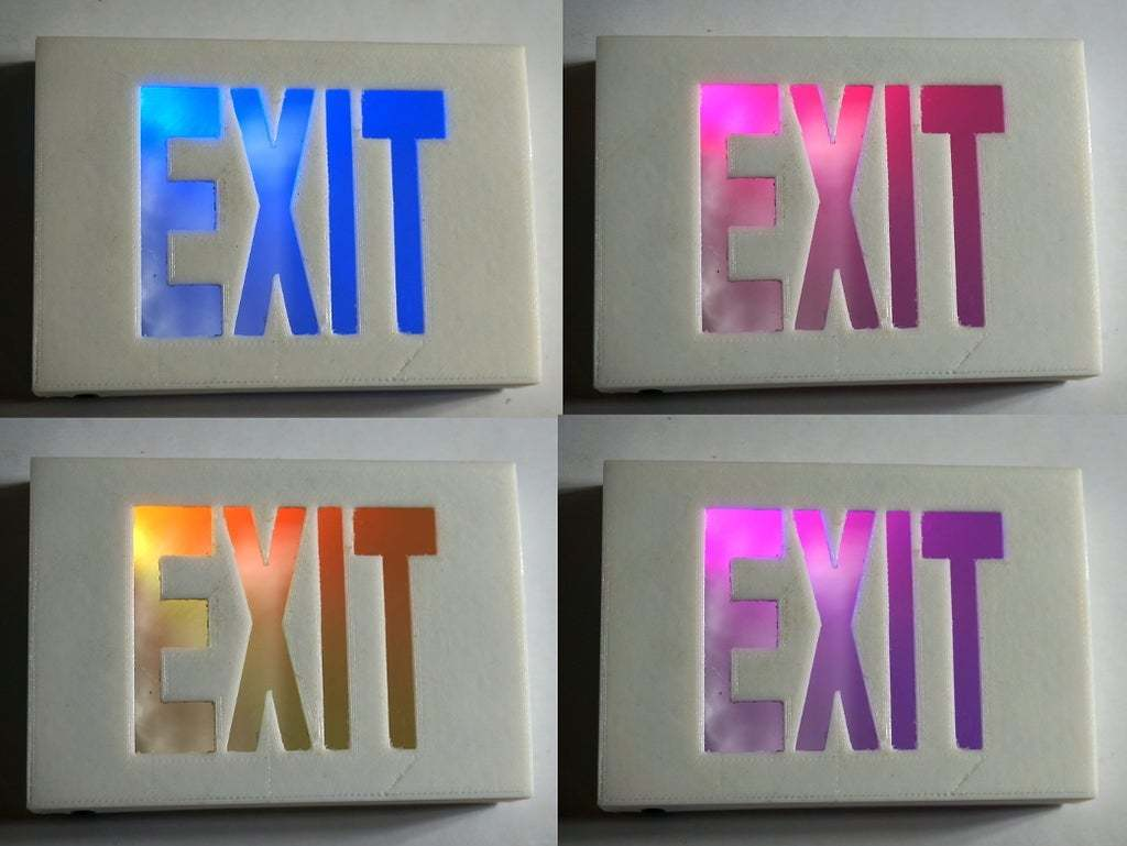 DSC02091.JPG Download free STL file Tiny Exit Sign with LED Light • 3D printing template, tonyyoungblood