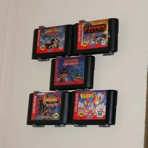 DSC03988.JPG Download free STL file Sega Genesis Game Wall Hangers - Modular - Stackable • 3D printable design, tonyyoungblood